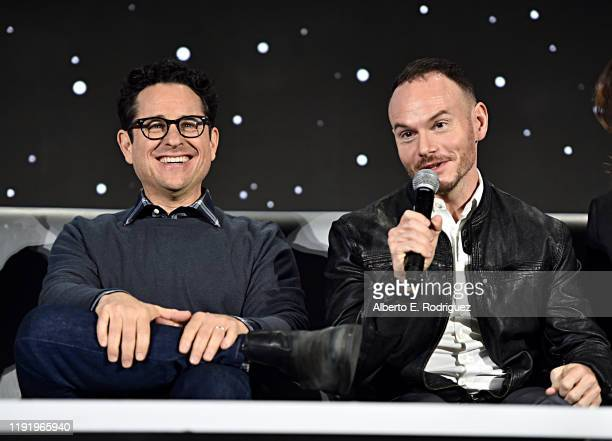 Writer/director JJ Abrams and Cowriter Chris Terrio participate in the global press conference for Star Wars The Rise of Skywalker at the Pasadena...