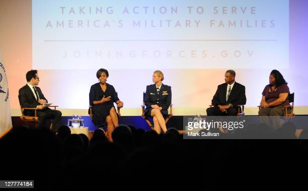 Writer/director JJ Abrams First Lady Michelle Obama Air Force Pilot Captain Kelly Smith Bobby Jarman and Arnita Moore discuss Hollywood Guild join...