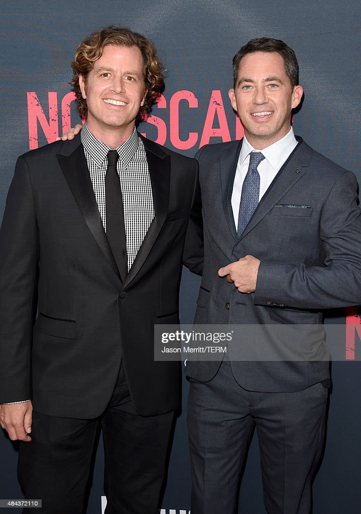 Writer-director John Erick Dowdle and writer Drew Dowdle attend the premiere of the Weinstein Company's 'No Escape' at Regal Cinemas L.A. Live on August 17, 2015 in Los Angeles, California.