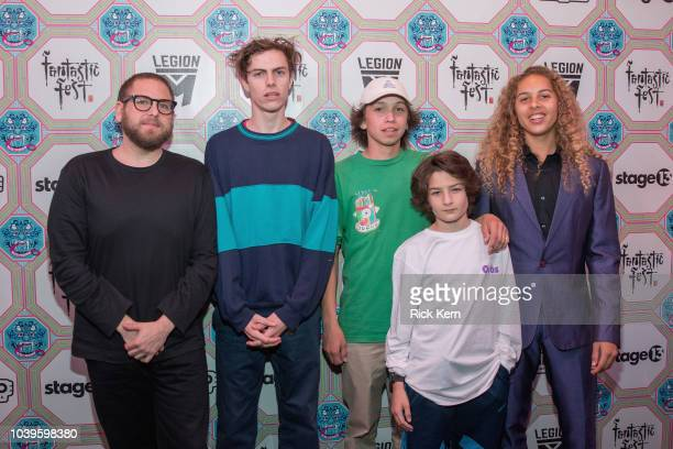 Writer/director Jonah Hill actors Ryder McLaughlin Gio Galicia Sunny Suljic and Olan Prenatt attend the US premiere of 'Mid90s' during Fantastic Fest...