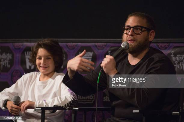 Writer/director Jonah Hill and actor Sunny Suljic participate in a QA following the US premiere of 'Mid90s' during Fantastic Fest at the Alamo...