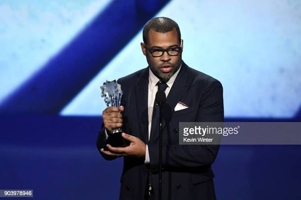 Writer/director Jordan Peele accepts Best Original Screenplay for 'Get Out' onstage during The 23rd Annual Critics' Choice Awards at Barker Hangar on...