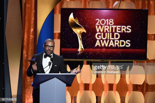 Writerdirector Jordan Peele accepts the Original Screenplay award for 'Get Out' onstage during the 2018 Writers Guild Awards LA Ceremony at The...