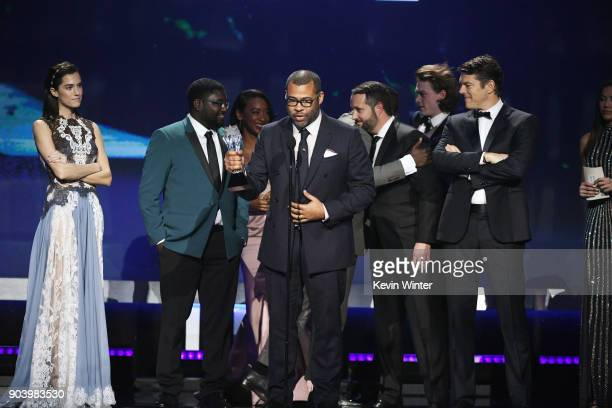 Writer/director Jordan Peele with cast and crew of 'Get Out' accept Best Sci-Fi/Horror Movie onstage during The 23rd Annual Critics' Choice Awards at...