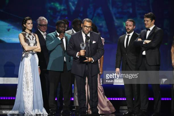 Writer/director Jordan Peele with cast and crew of 'Get Out' accept Best SciFi/Horror Movie onstage during The 23rd Annual Critics' Choice Awards at...