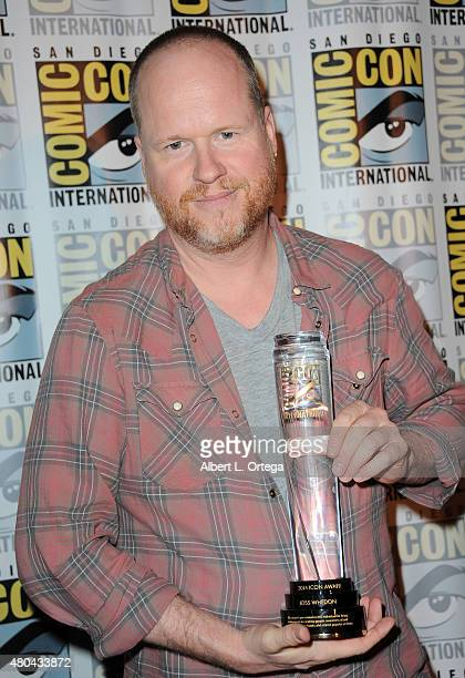 Writer/director Joss Whedon poses with his ComicCon International Icon Award at Dark Horse An Interview with Joss Whedon during ComicCon...