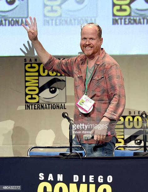 Writerdirector Joss Whedon speaks onstage at Dark Horse An Interview with Joss Whedon during ComicCon International 2015 at the San Diego Convention...