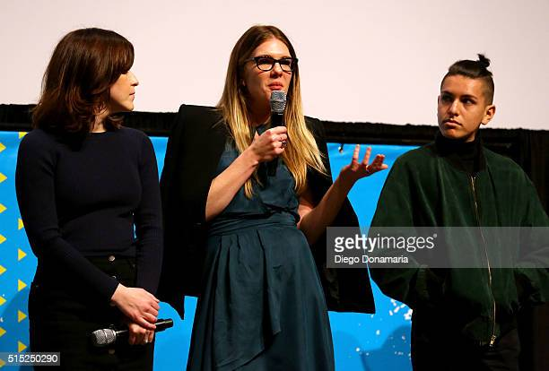 Writer/director Julia Hart actors Lily Rabe and Anthony Quintal speak onstage at the premiere of Miss Stevens during the 2016 SXSW Music Film...