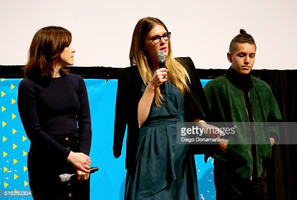Writer/director Julia Hart actors Lily Rabe and Anthony Quintal speak onstage at the premiere of 'Miss Stevens' during the 2016 SXSW Music Film...