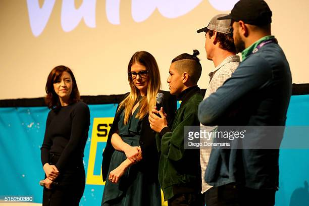 Writer/director Julia Hart actors Lily Rabe Anthony Quintal Rob Huebel and producer Jordan Horowitz speak onstage at the premiere of Miss Stevens...