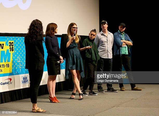 Writer/director Julia Hart actors Lily Rabe Anthony Quintal Rob Huebel and producer Jordan Horowitz speak onstage at the premiere of 'Miss Stevens'...