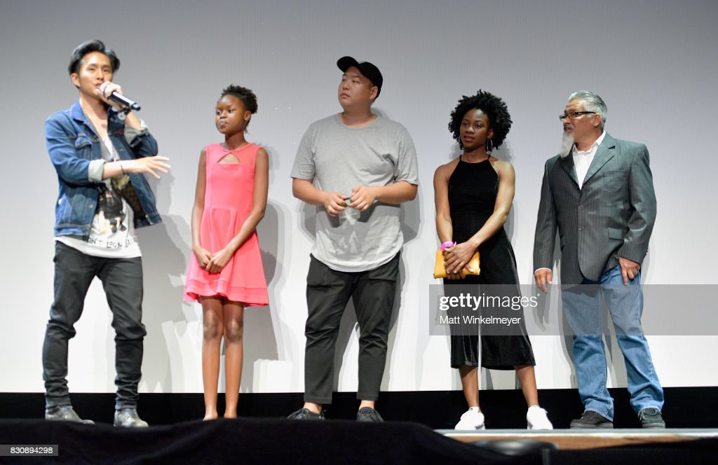 Writer/director Justin Chon, actors Simone Baker, Daniel So, Omono Okojie, and Ben Munoz appear on stage during 2017 Sundance NEXT FEST at The Theater at The Ace Hotel on August 12, 2017 in Los Angeles, California.