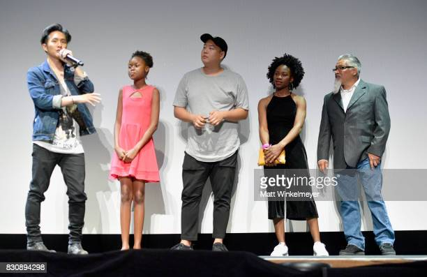 Writer/director Justin Chon actors Simone Baker Daniel So Omono Okojie and Ben Munoz appear on stage during 2017 Sundance NEXT FEST at The Theater at...
