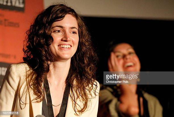 """Writer/Director Katherine Nolfi and actress Iracel Rivero speak onstage at the """"Upstate"""" Q&A during the 2010 Los Angeles Film Festival at Regal..."""