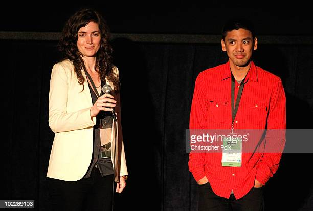 """Writer/Director Katherine Nolfi and co-Director Andrew Luis speak onstage at the """"Upstate"""" Q&A during the 2010 Los Angeles Film Festival at Regal..."""