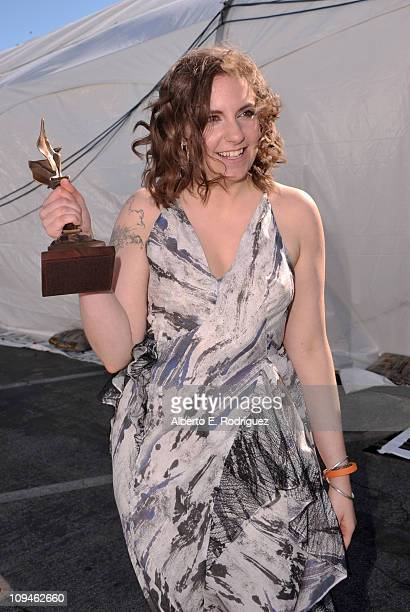 Writerdirector Lena Dunham winner of the Best First Screenplay award for 'Tiny Furniture' at the 2011 Film Independent Spirit Awards at Santa Monica...