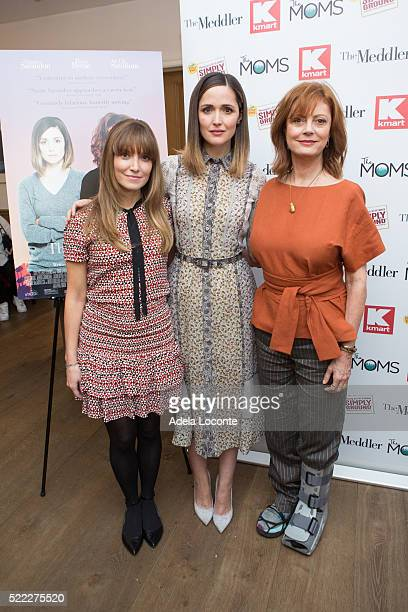 WriterDirector Lorene Scafaria Actress Rose Byrne and Susan Sarandon attend Mamarazzi Screening Of The Meddler at Crosby Street Theater on April 18...
