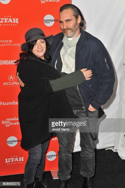 Writer/Director Lynne Ramsay and actor Joaquin Phoenix attend the 'You Were Never Really Here' Premiere during the 2018 Sundance Film Festival at The...