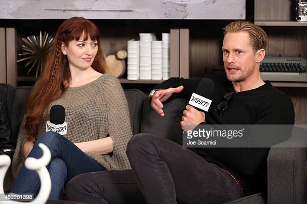 Writer/director Marielle Heller and Alexander Skarsgard speak at The Variety Studio At Sundance Presented By Dockers on January 25 2015 in Park City...