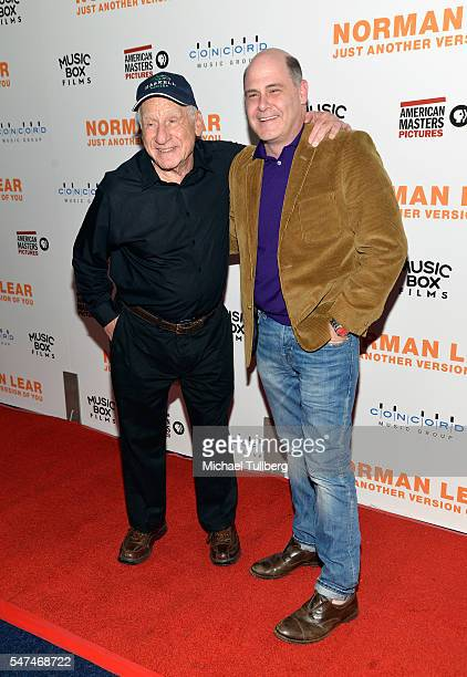 """Writer/director Mel Brooks and writer Matthew Weiner attend the premiere of Music Box Films' """"Norman Lear: Just Another Version Of You"""" at The WGA..."""