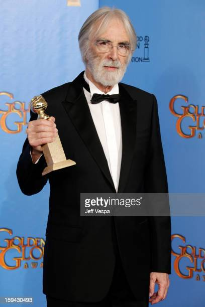 Writerdirector Michael Haneke poses in the press room at the 70th Annual Golden Globe Awards held at The Beverly Hilton Hotel on January 13 2013 in...
