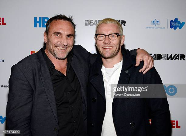 Writer/director Michael Ware Australian journalist and war correspondent and actor Joel Edgerton pose during screening of the FoxTel and HBO's war...