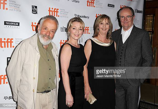 Writer/Director Mike Leigh actresses Lesley Manville Ruth Sheen and actor Jim Broadbent attend the Another Year Premiere held at Visa Screening Room...