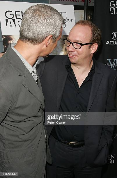 Writer/director Neil Burger and actor Paul Giamatti attend Yari Film Group's premiere of The Illusionist at Chelsea West Cinemas August 15 2006 in...