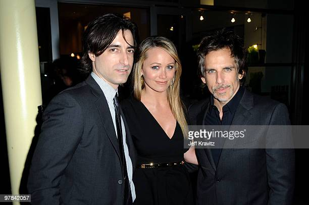 Writer/director Noah Baumbach actress Christine Taylor and actor Ben Stiller arrive at the premiere of 'Greenberg' presented by Focus Features at...