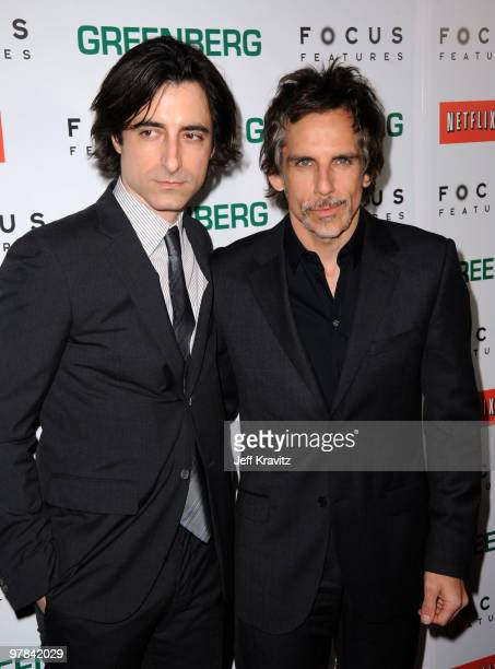Writer/director Noah Baumbach and actor Ben Stiller arrive at the premiere of 'Greenberg' presented by Focus Features at ArcLight Hollywood on March...