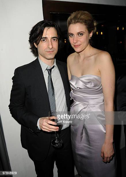 Writer/director Noah Baumbach and actress Greta Gerwig attend the after party for the premiere of Greenberg presented by Focus Features at La Vida on...