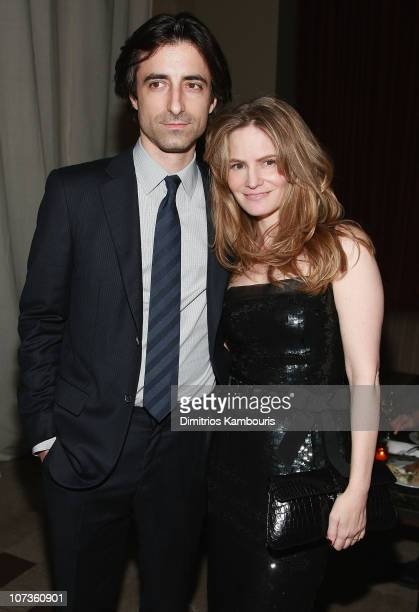 Writerdirector Noah Baumbach and his wife actress Jennifer Jason Leigh attend the after party for Margot at the Wedding hosted by The Cinema Society...