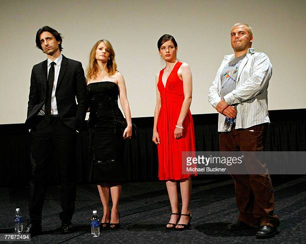 Writer/director Noah Baumbach wife actress Jennifer Jason Leigh actress Flora Cross and actor Jack Black speak at the Margot at the Wedding screening...
