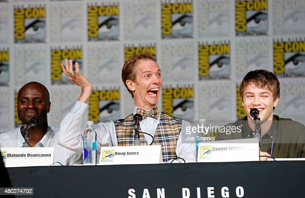 Writer/director Olatunde Osunsanmi actors Doug Jones and Connor Jessup speak onstage at the Falling Skies panel during TNT at ComicCon International...