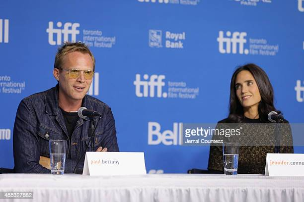 Writer/director Paul Bettany and actress Jennifer Connelly speak onstage at the 'Shelter' Press Conference during the 2014 Toronto International Film...