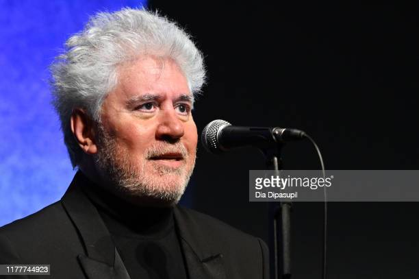 Writer/director Pedro Almodóvar introduces Pain and Glory during the 57th New York Film Festival at Alice Tully Hall Lincoln Center on September 28...