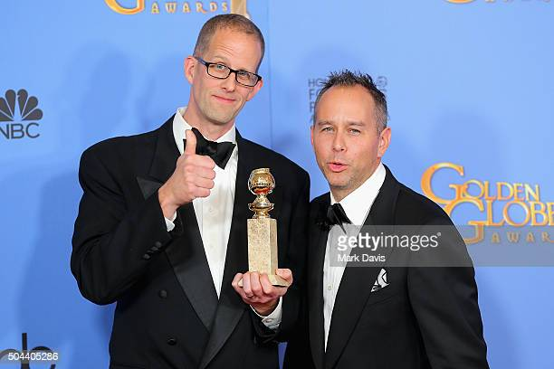 Writer/director Pete Docter and producer Jonas Rivera of Inside Out winner of Best Motion Picture Animated pose in the press room during the 73rd...