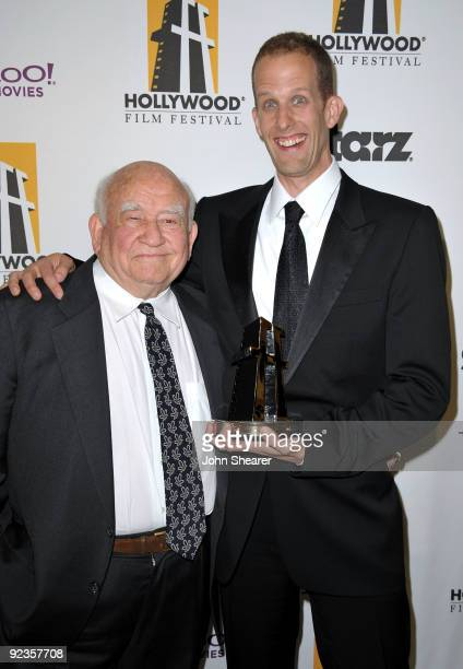 Writer/director Pete Docter poses holding the Animation Award with actor Ed Asner in the press room during the 13th annual Hollywood Awards Gala...