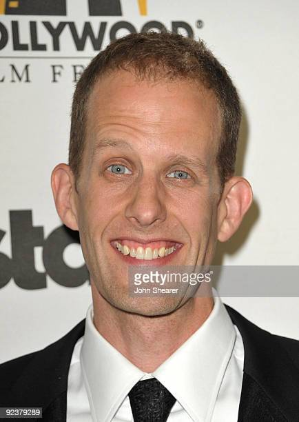 Writer/director Pete Docter poses with the Animation Award in the press room during the 13th annual Hollywood Awards Gala Ceremony held at The...