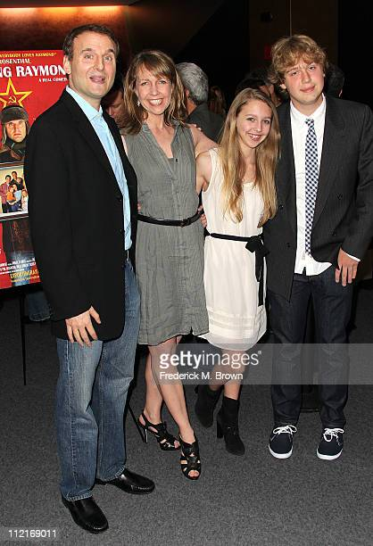 Writer/director Phil Rosenthal actress Monica Horan Rosenthal Lily Rosenthal and Ben Rosenthal attend the premiere of Exporting Raymond at the...
