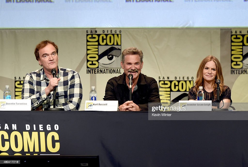 Writer/director Quentin Tarantino, actors Kurt Russell and Jennifer Jason Leigh speak onstage at Quentin Tarantino's 'The Hateful Eight' panel during Comic-Con International 2015 at the San Diego Convention Center on July 11, 2015 in San Diego, California.