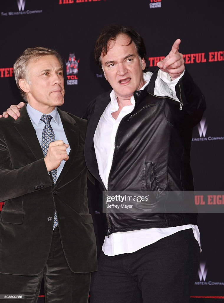 Writer/director Quentin Tarantino (R) and actor Christoph Waltz attend the Quentin Tarantino Hand And Footprint Ceremony at the TCL Chinese Theater on January 5, 2016 in Hollywood, California.