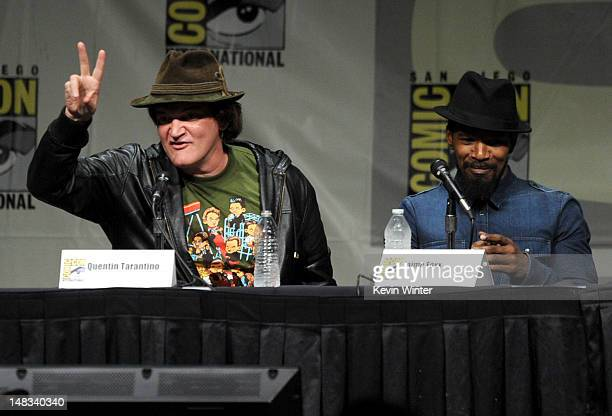 Writer/director Quentin Tarantino and actor Jamie Foxx speak at the 'Django Unchained' panel during ComicCon International 2012 at San Diego...