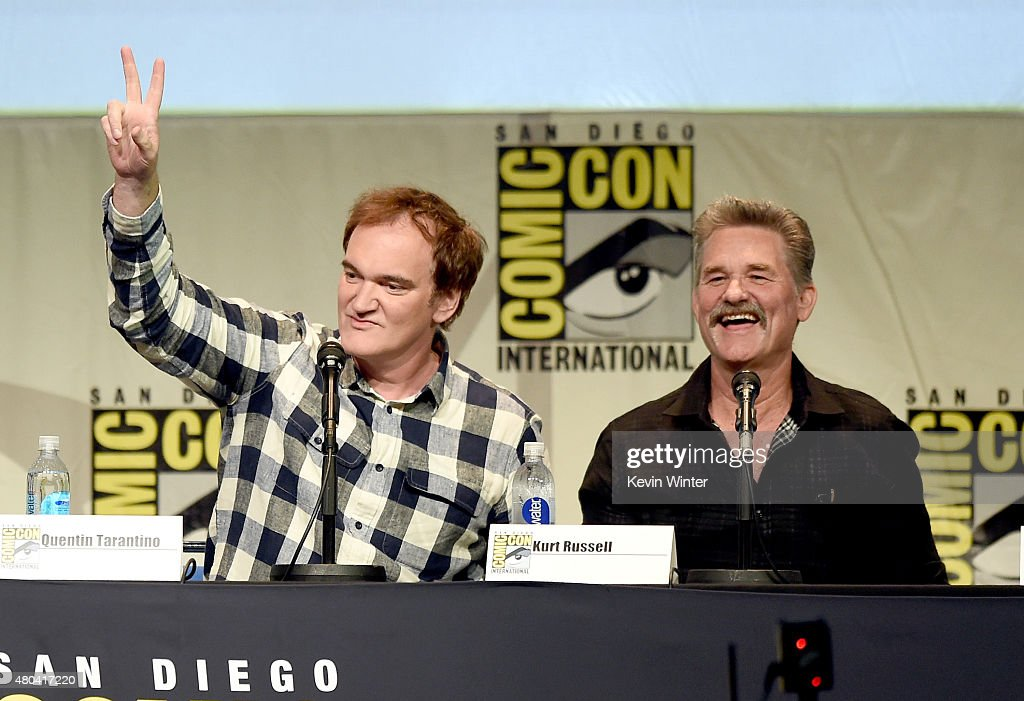 Writer/director Quentin Tarantino (L) and actor Kurt Russell speak onstage at Quentin Tarantino's 'The Hateful Eight' panel during Comic-Con International 2015 at the San Diego Convention Center on July 11, 2015 in San Diego, California.