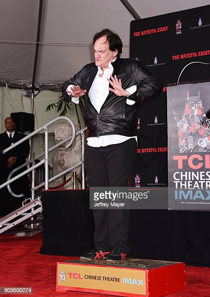 Writer/director Quentin Tarantino attends the Quentin Tarantino Hand And Footprint Ceremony at the TCL Chinese Theater on January 5 2016 in Hollywood...