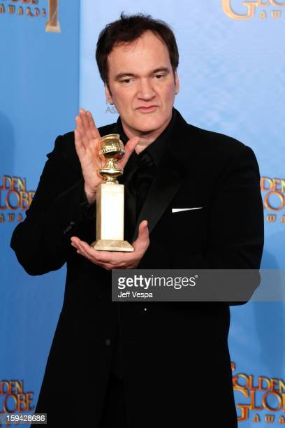 Writerdirector Quentin Tarantino poses in the press room at the 70th Annual Golden Globe Awards held at The Beverly Hilton Hotel on January 13 2013...