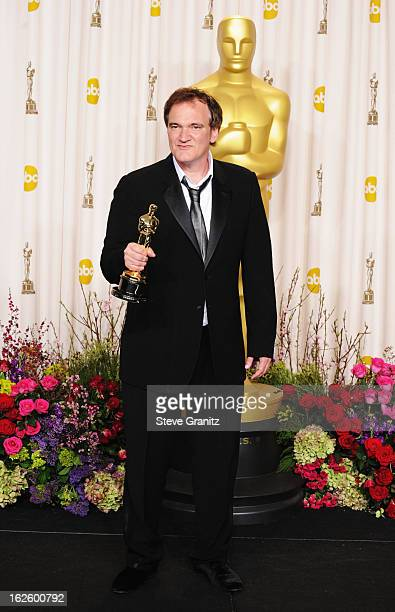 Writer/director Quentin Tarantino poses in the press room during the Oscars at the Loews Hollywood Hotel on February 24, 2013 in Hollywood,...