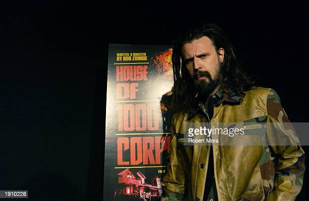 Writer/director Rob Zombie attends the premiere of House of 1000 Corpses at the Arclight Theater April 9 2003 in Hollywood California The film opens...