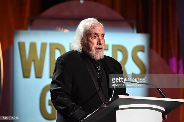 Writer/director Robert Towne speaks onstage during the 2016 Writers Guild Awards at the Hyatt Regency Century Plaza on February 13 2016 in Los...