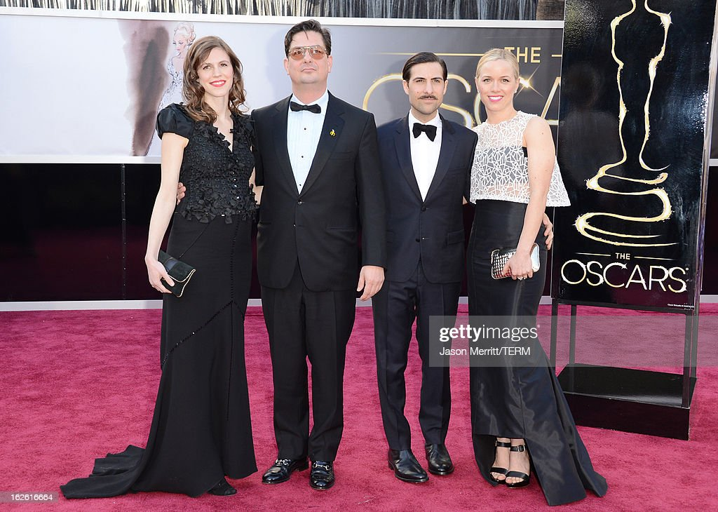 Writer-director Roman Coppola (2nd L), actor Jason Schwartzman (2nd R) and guests arrive at the Oscars at Hollywood & Highland Center on February 24, 2013 in Hollywood, California.